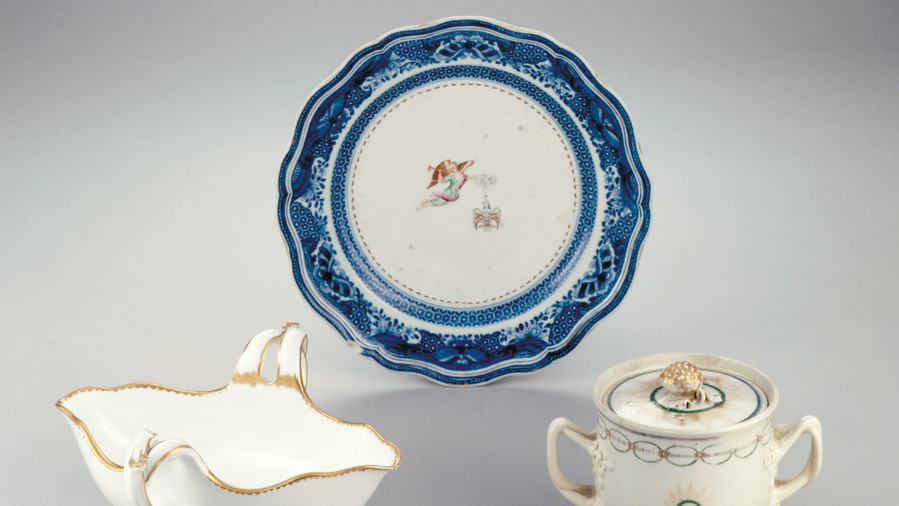 White Plate with Blue Border Presidential China