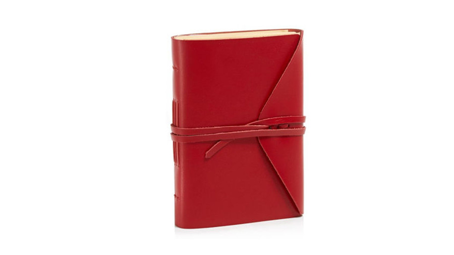 Red Leather Journal with Tie