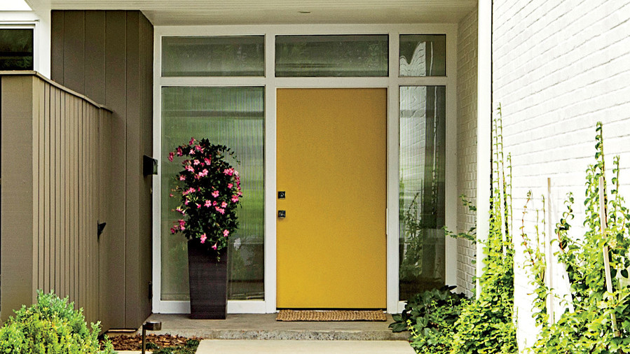 Ordinaire Yellow Front Door Mid Century Rancher