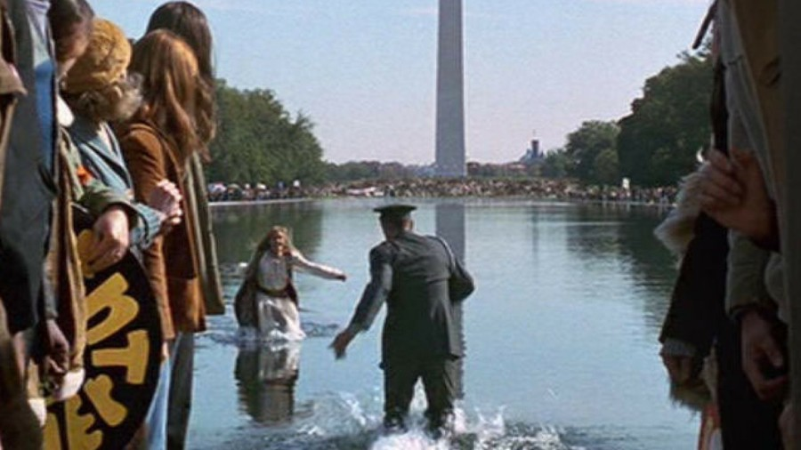 In Forrest Gump, when Forrest sees Jenny across the crowd and they both run through the Reflecting Pool in the National Mall