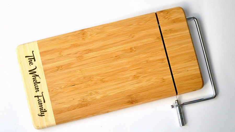 Engraved Cheese Board with Built in Slicer