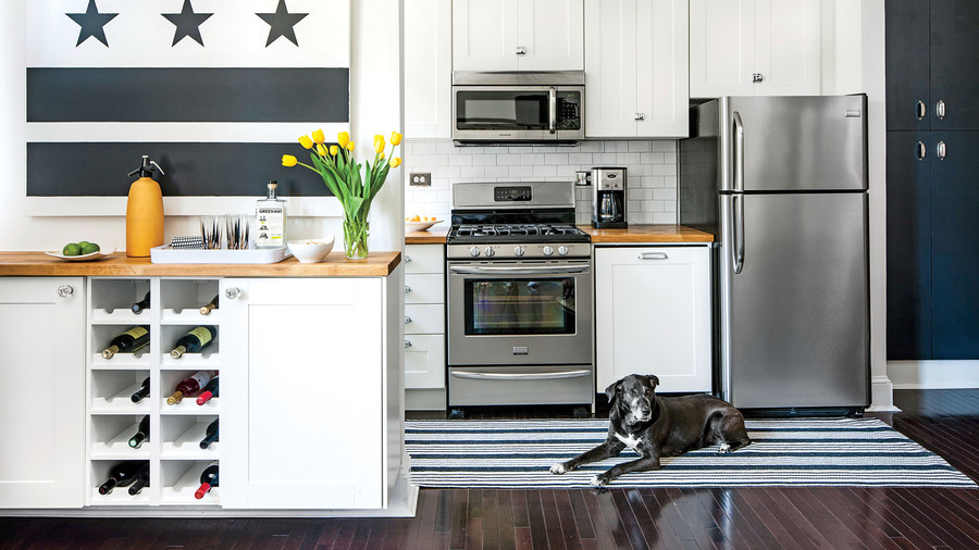 White and Dark Hardwood Stainless Appliances