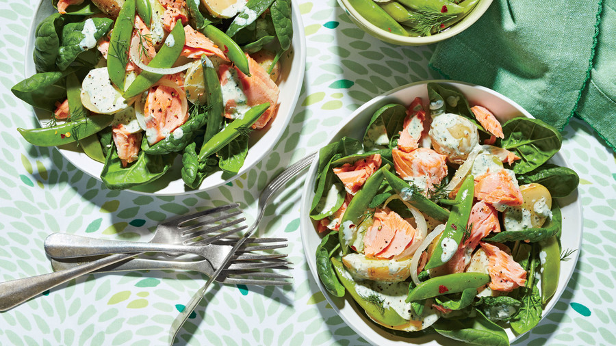 Poached Salmon Salad with Pickled Snap Peas