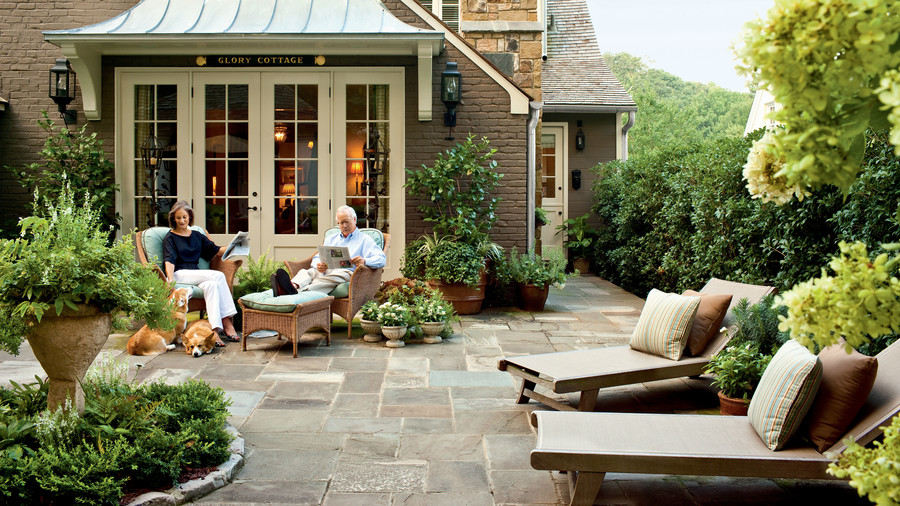 after stone patio - Backyard Garden Ideas Before And After