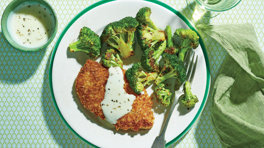 Crispy Oven-Fried Chicken Cutlets with Roasted Broccoli