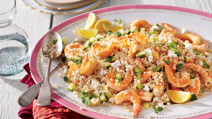 Garlic Shrimp and Herbed Couscous Salad
