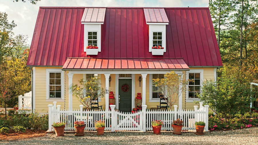 Small Farmhouse With Red Tin Roof