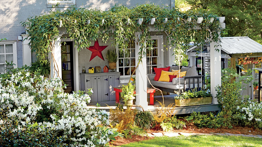 Backyard Pergola with Greenery