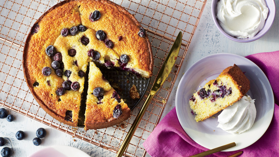 May- Blueberry-Cornmeal Cake