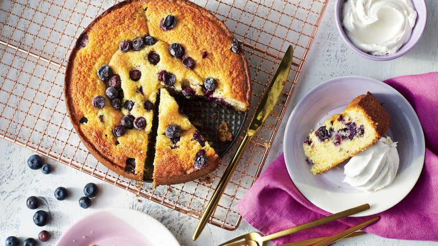 Blueberry-Cornmeal Cake