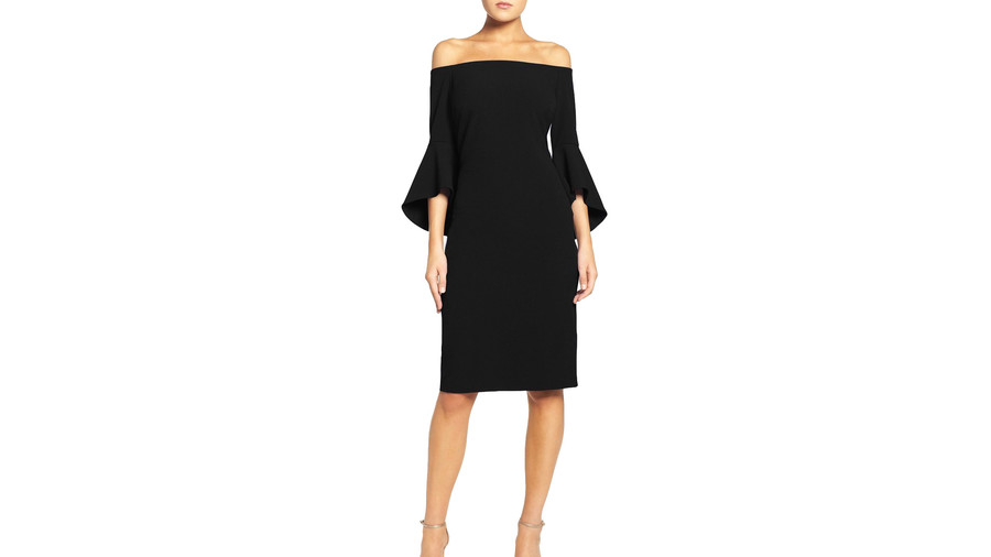 Statement Sleeve Black Dress