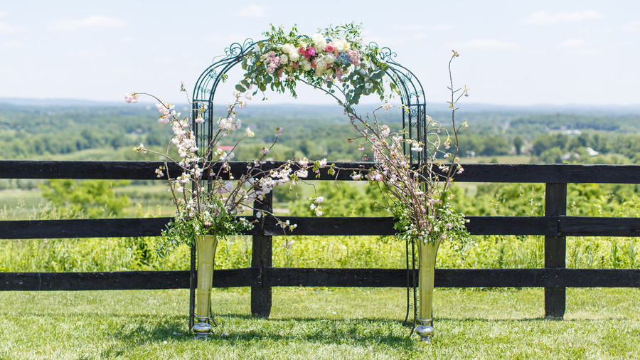 Floral Vineyard Arch with a View