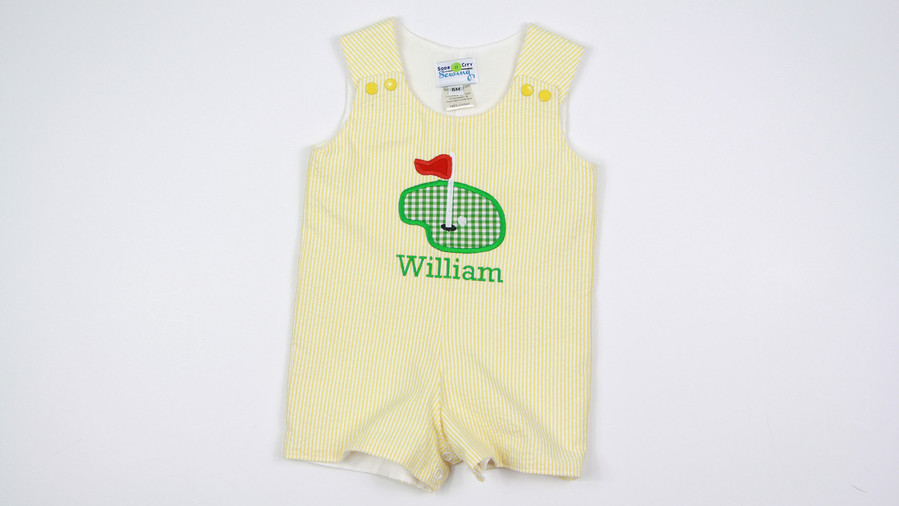 Yellow Seersucker Golf Shortall