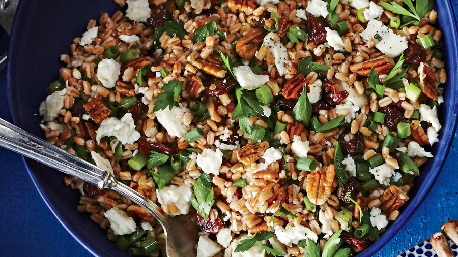 RX_1705_Hanukkah Side_Farro Salad with Toasted Pecans, Feta, and Dried Cherries