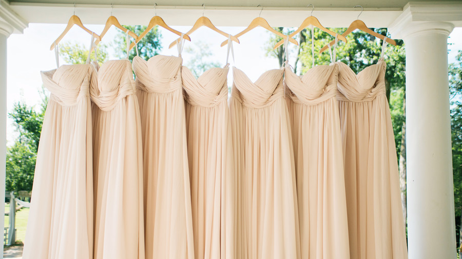 Blush Bridesmaid Dresses Hanging