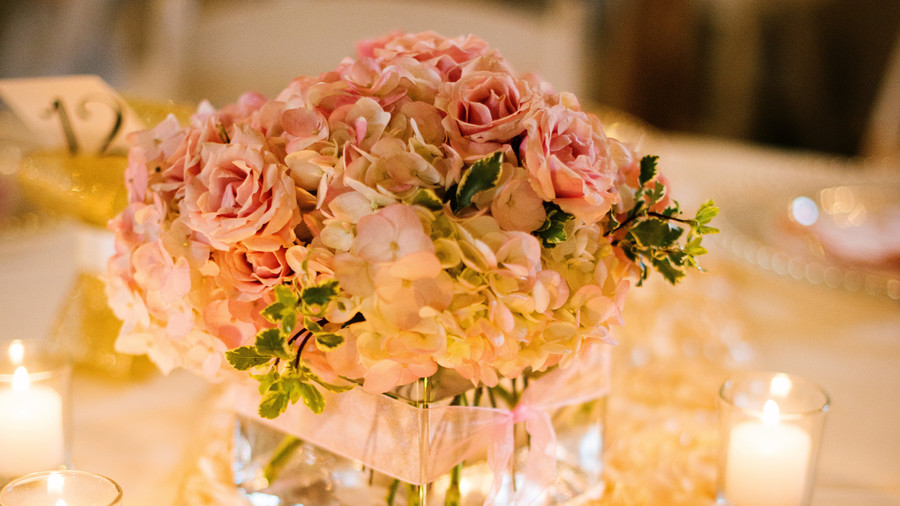 Perfectly Pink Hydrangea and Garden Rose Centerpieces