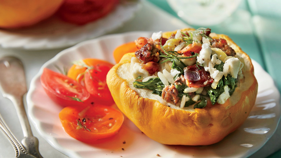 Stuffed Pattypan Squash with Beef and Feta