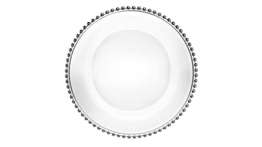 Glass Silver Beaded Charger Plate