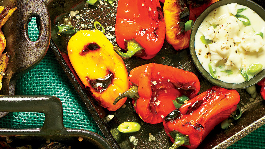 Charred Peppers with Feta Dipping Sauce
