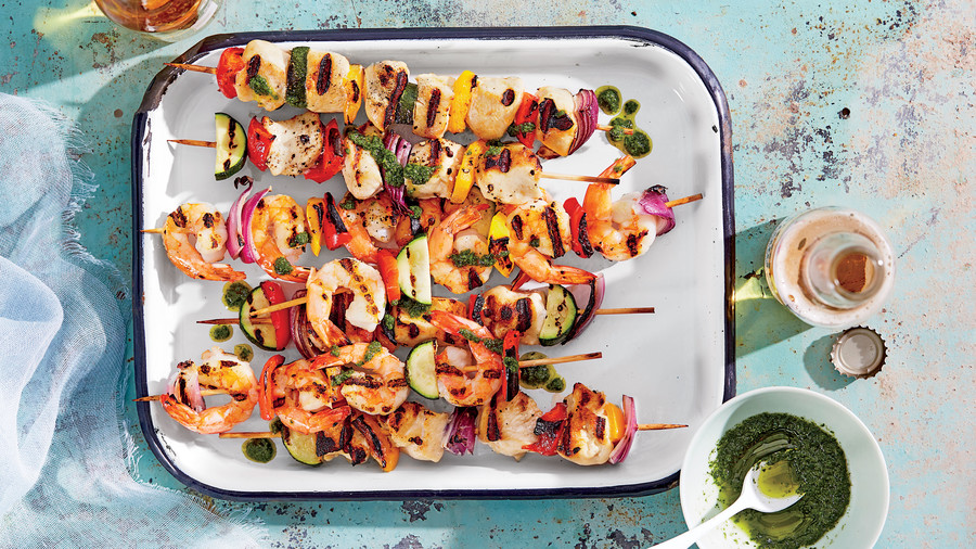 Chicken-and-Shrimp Kebabs with Summer Vegetables and Basil Oil