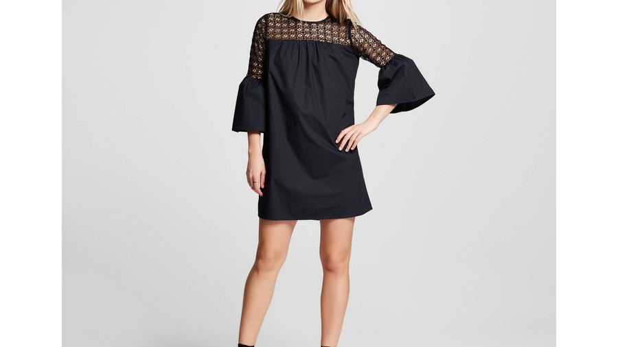Eyelet Mix Mini Dress
