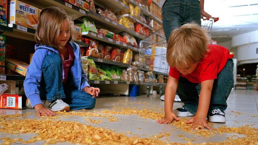 Kids Spilt Cereal in Grocery Store