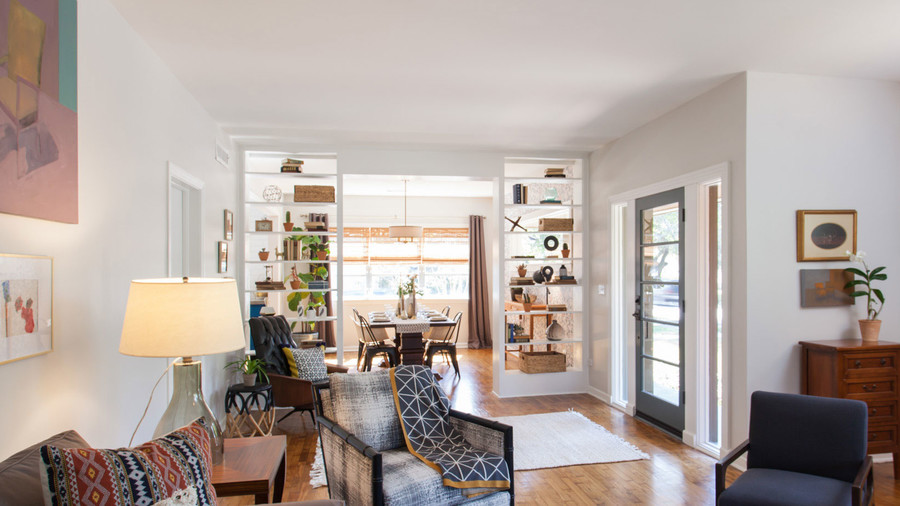 Use open shelving to create room divisions