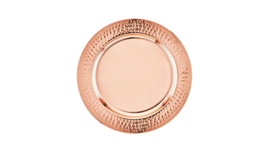 Copper Hammered Rim Charger Plates, Set of 6