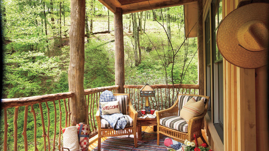 Fall Porch with Quilts