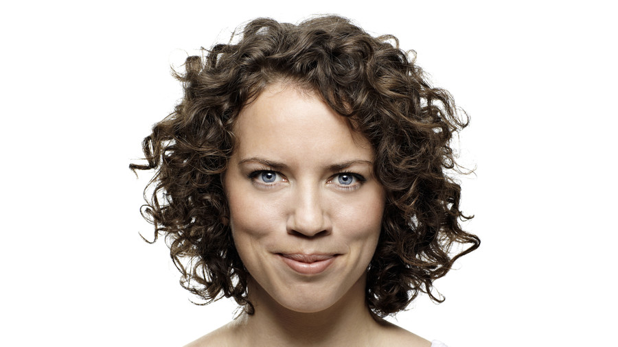 Woman with Short Brown Curly Hair