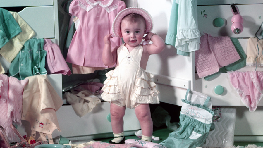 Baby Girl Playing Dress-up