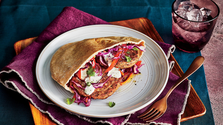 Black-Eyed Pea Fritter Sandwiches with Slaw