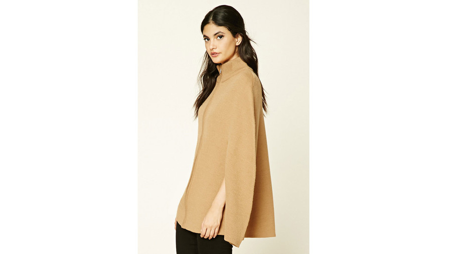 Zip-Front Sweater Poncho