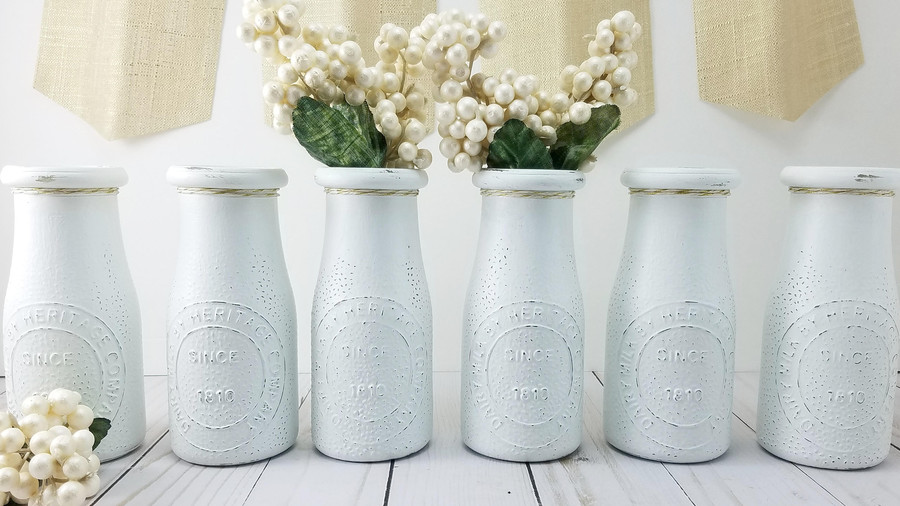 Hand-Painted Milk Bottle Vases