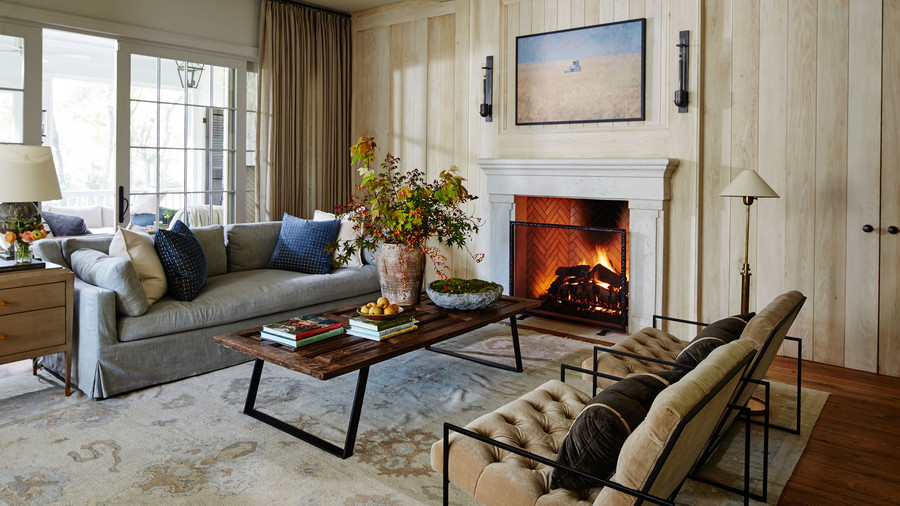 Living Room with Light Oak Paneled Walls and Fireplace