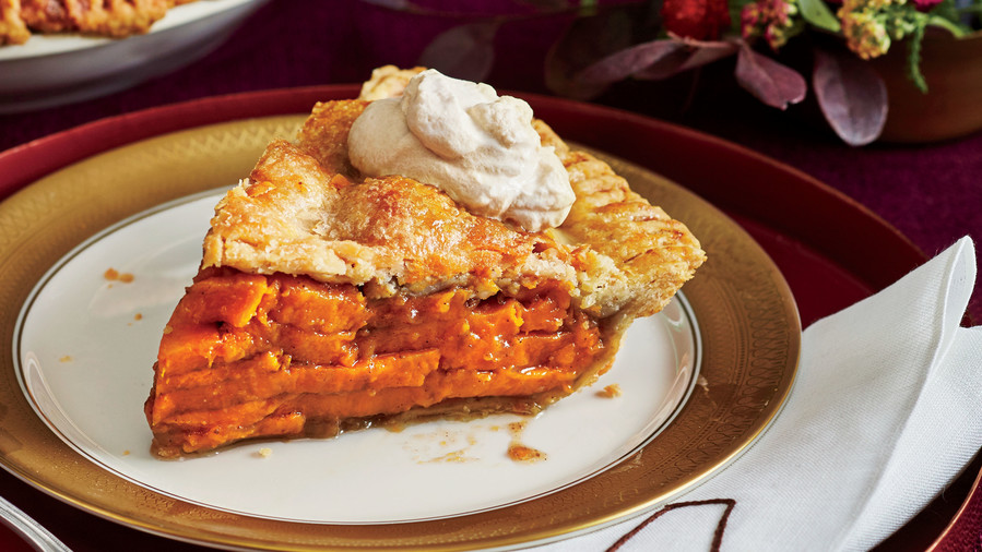 Sliced Sweet Potato Pie with Molasses Whipped Cream