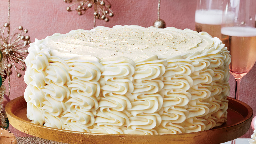 Eggnog Spice Cake With Bourbon Custard Filling And Buttercream