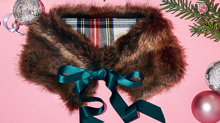 Jcrew Faux Fur Tartan Collar