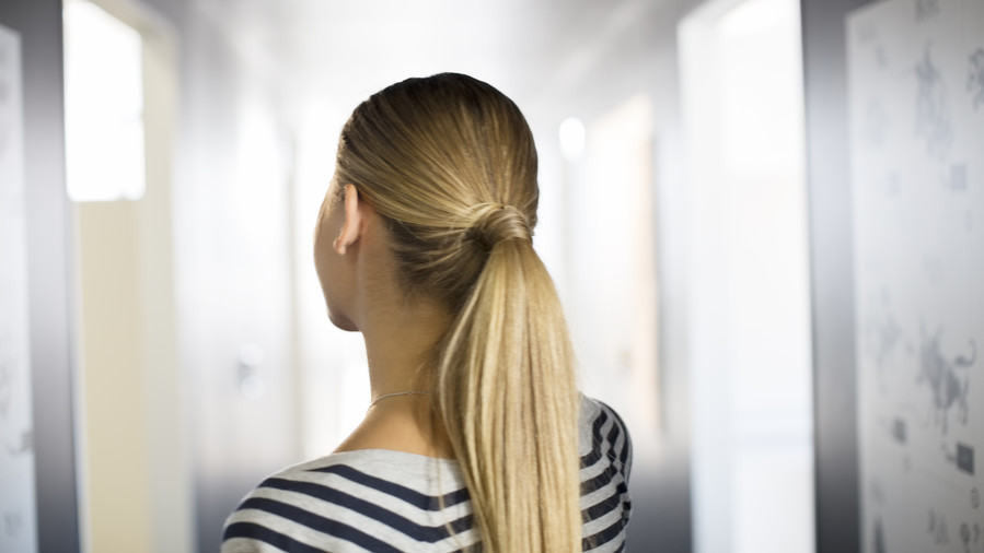 Blonde Woman with Hair in a Ponytail