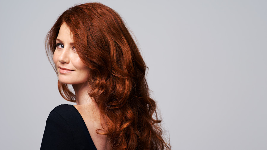Woman with Dark Red Hair