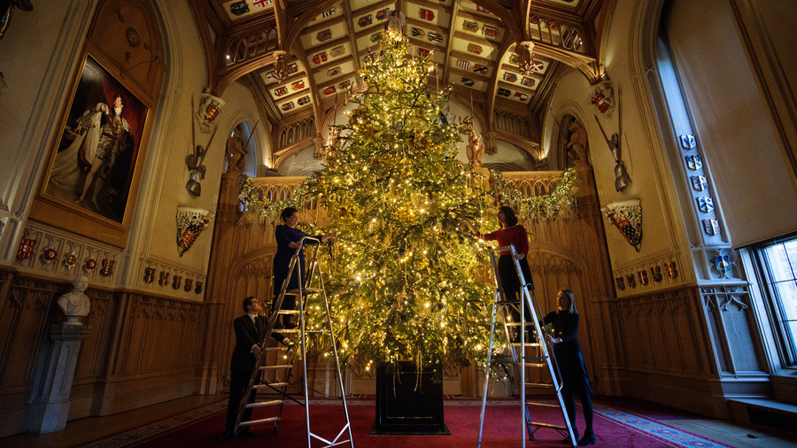 Up Goes the Christmas Tree at Windsor Castle