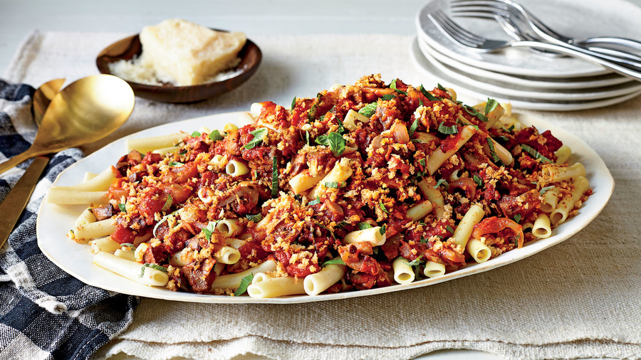 Ziti with Mushroom, Fennel, and Tomato Ragu