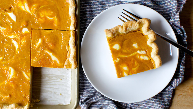 Cheesecake-Marbled Pumpkin Slab Pie