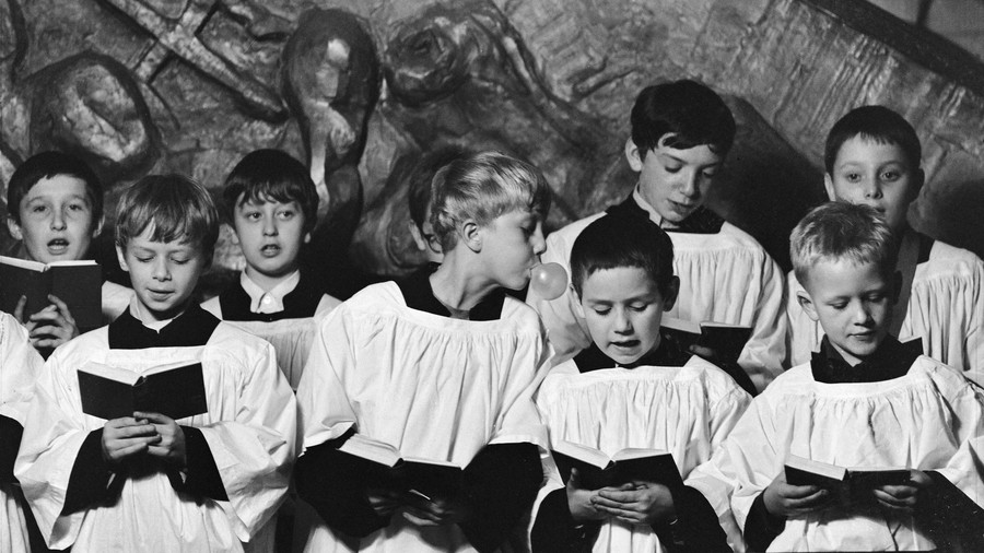 Church Choir with Boy Blowing Bubble Gum