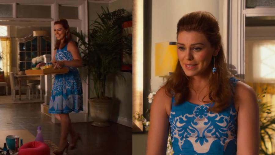 RX_1802 Hart of Dixie Annabeth's Style Blue Dress Nude Heels