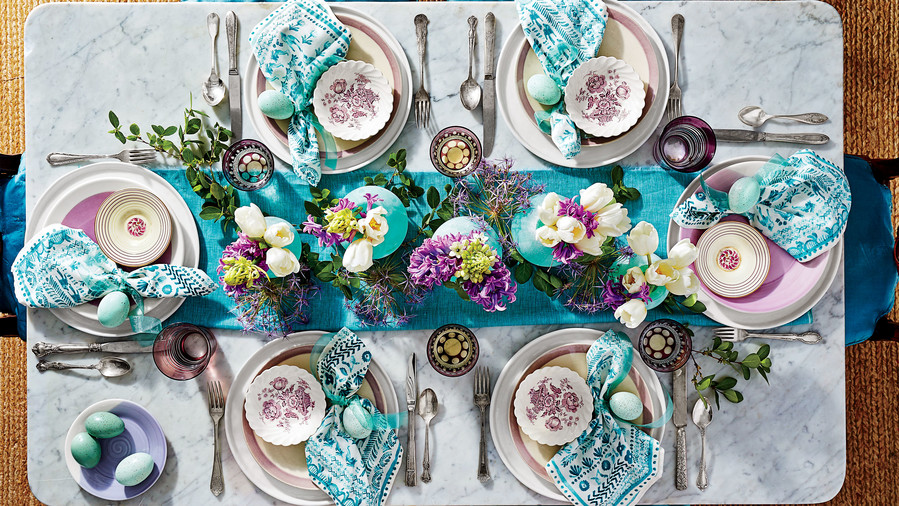 Teal and Purple Tablescape
