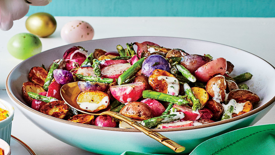 Warm Asparagus, Radish, and New Potato Salad with Herb Dressing