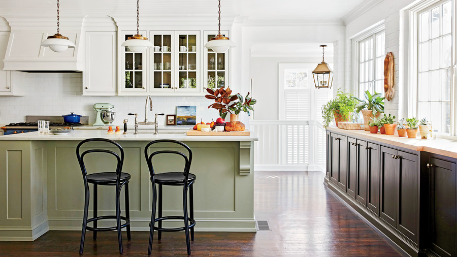 White, Black, and Gray Kitchen in Chapel Hill House