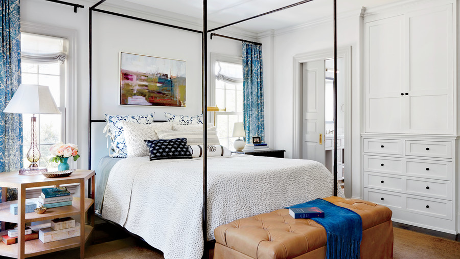Chapel Hill House Blue and White Master Bedroom