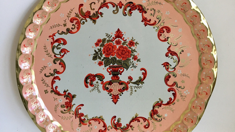 Baret Ware Pink and Gold Tray